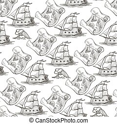 Vintage ship and map on parchment paper seamless pattern