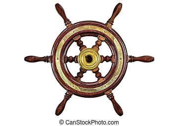 Vintage wooden ship steering wheel rudder isolated on a white background