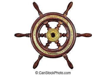 Vintage ship steering wheel rudder isolated on white -...