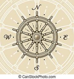 Vintage ship wheel in woodcut style. Vector illustration...