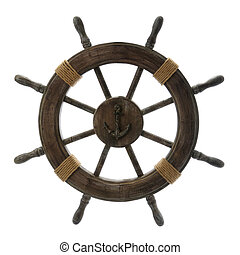 Vintage Ship Wheel isolated over a white background