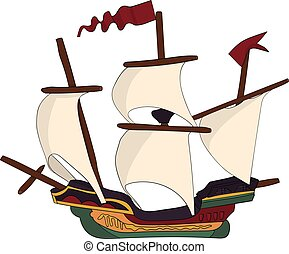Vintage Ship with Sails Galleon - a vintage ship...