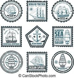 Vintage Ships And Vessels Stamps Set
