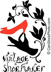 Vintage shoemaker silhouette vector illustration