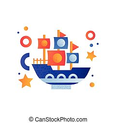 Vintage shop with sails, sea travel, retro toy water transport vector Illustration on a white background