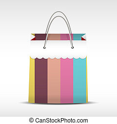 Vintage shopping bag in stripes texture - Vector Vintage...