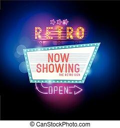 Vintage Show Sign - Retro Showtime Sign. Theatre cinema...