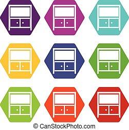 Vintage sideboard icon set color hexahedron