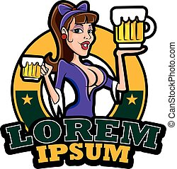 Vintage signage. Pin up sexy lady holding beers with big sign board, vector illustration for business signboard
