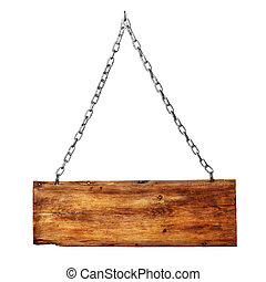 vintage signboard on chain