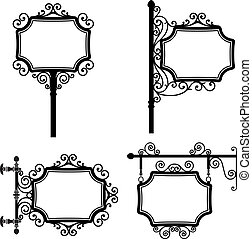 Vintage Signs - Black and white wrought iron vintage signs...