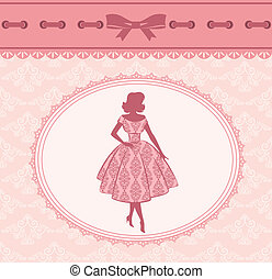 Vintage silhouette of girl.