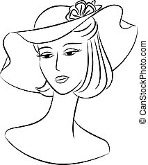 silhouette of girl in hat.