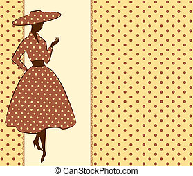 Vintage silhouette of girl on tapestry background. Vector