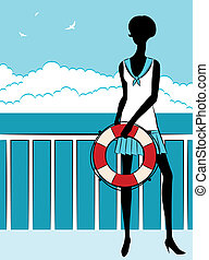 girl with red life buoy