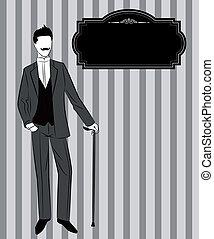 Vintage silhouette of man.