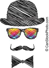 Vintage silhouette of top hat, mustaches, bow tie - illustration.
