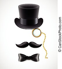 Vintage silhouette of top hat, mustaches, monocle and a bow tie. Vector illustration.
