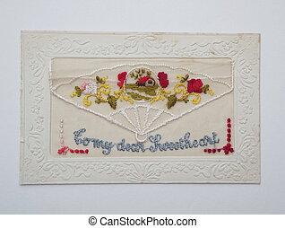 Vintage silk embroidered postcard