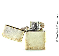 Vintage silver gasoline lighter isolated on white background