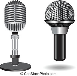 Vintage silver microphones isolated on white background. ...