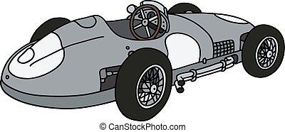 Vintage silver racing car