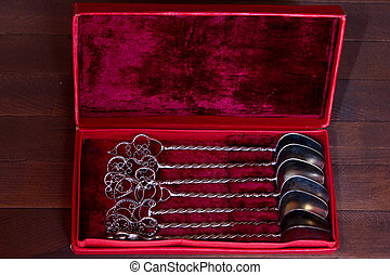 Vintage silver tea spoon set in box