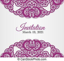 Vintage silver wedding invitation cover with lace decoration