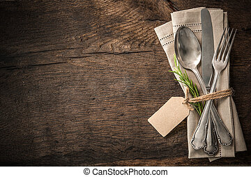 Vintage silverware with an empty tag - Vintage silverware...