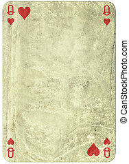 vintage simple background : playing card - queen of hearts -...