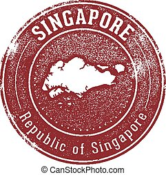 Distressed style stamp featuring the Asian country of Singapore