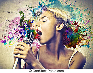vintage singer on artistic background