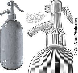 Vintage siphon or soda bottle - Vector illustration,...