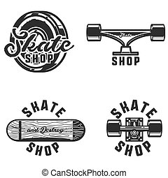 Vintage skate shop emblems. Vector illustration, EPS 10