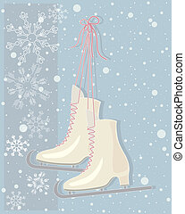 vintage skates - an illustration of a pair of vintage ice...