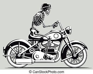 A vector image of a skeleton biker vector riding an old motorcycle. This vector is very good for design that needs motorbike vector in vintage style.