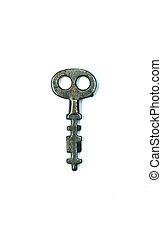 Old antique skeleton key isolated on white background