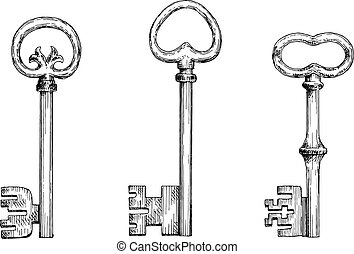 Vintage skeleton keys in engraving style