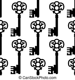 Seamless pattern with vintage skeleton keys silhouettes for textile or background design