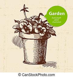 Vintage sketch garden background. Hand drawn design