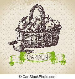 Vintage sketch gardening background. Hand drawn design