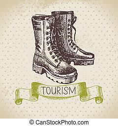 Vintage sketch tourism background. Hike and camping hand drawn illustration