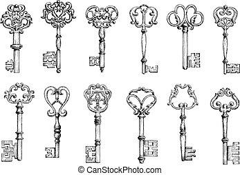 Vintage sketches of antique keys