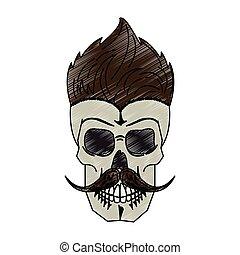 Vintage skull barbershop scribble