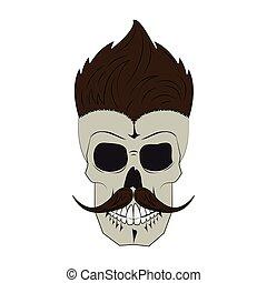 Vintage skull barbershop