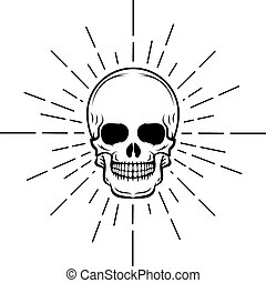 Vintage skull label, emblem and logo