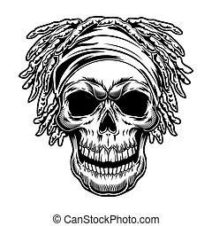 Vintage skull with dreadlocks vector illustration
