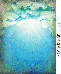 Vintage sky with sun and clouds.Nature background for design on old paper
