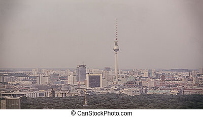 vintage skyline of berlin, with tv tower