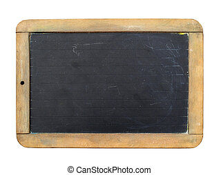 Vintage slate chalk board isolated on white